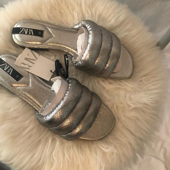 Zara quilted silver sandals